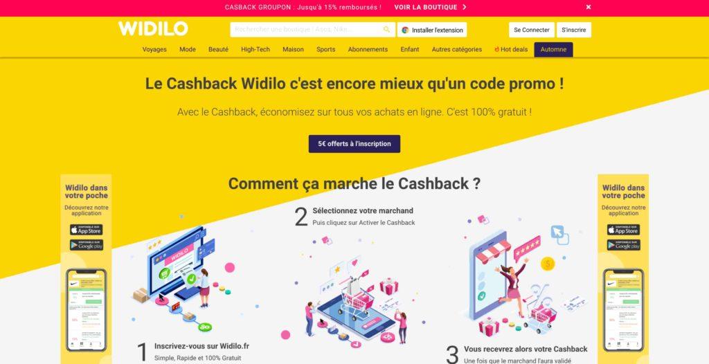 Landing page jaune du site Widilo
